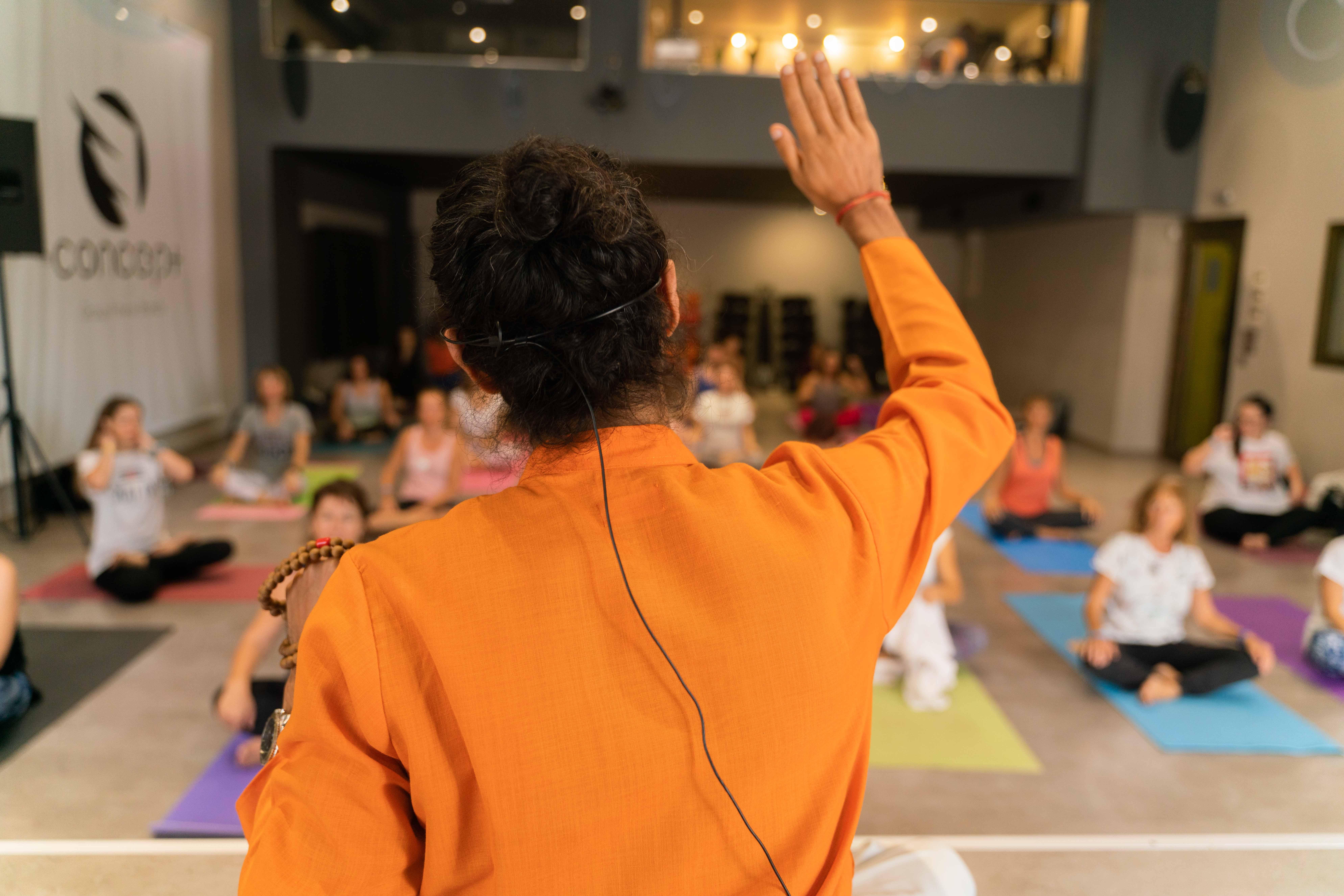 teaching sivaom yoga at the 7th hellenic yoga festival